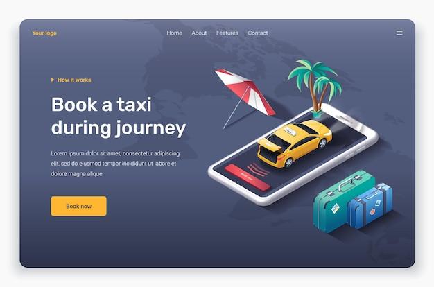 Taxi isometrico con modello di pagina di destinazione del bagagliaio aperto