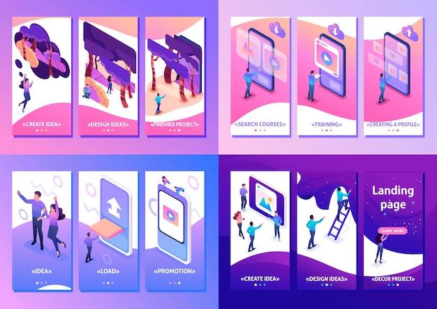 Progettazione isometrica app 3d design, apprendimento, contenuti per social network