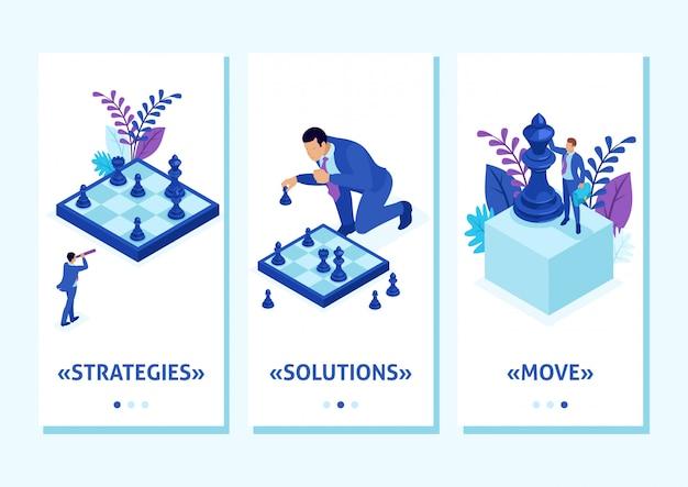 L'app isometrica modello grande impresa prende una decisione informata, partita a scacchi, strategia di crescita, app per smartphone. facile da modificare e personalizzare