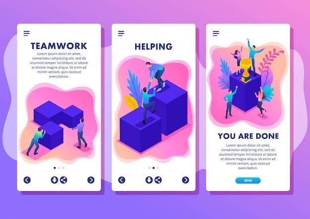 Modello isometrico app concetto brillante giovane squadra di successo, movimento verso l'alto, applicazioni per smartphone