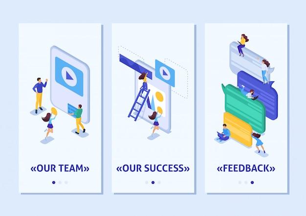 Flusso di lavoro dell'app isometrica modello e lavoro di squadra di un grande team su un progetto, app per smartphone. facile da modificare e personalizzare