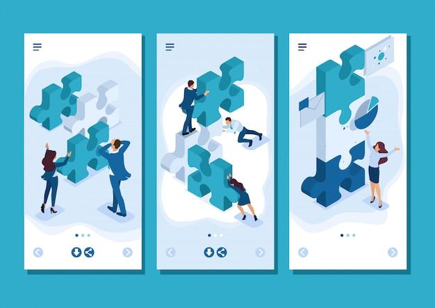 Isometric template app team di giovani imprenditori che lavorano alla creazione del progetto, app per smartphone