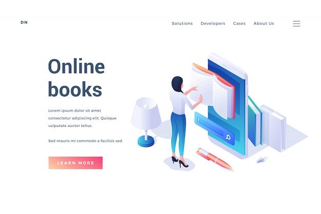 Modello isometrico della risorsa di pubblicità banner sito web di libri online con lettura femminile in app del telefono cellulare isolato su bianco