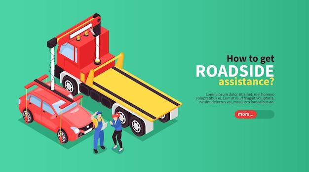 Banner web isometrica carro attrezzi con testo modificabile pulsante cursore e illustrazione di persone vicino alle automobili
