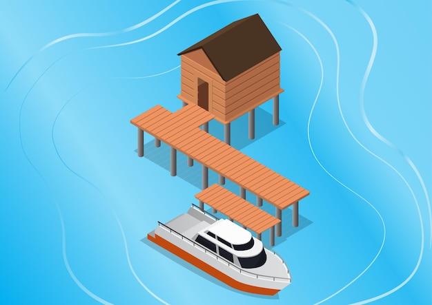 Resort tropicale isometrico con yacht sul mare