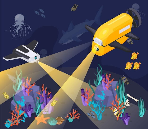 Composizione di apparecchiature di macchine per veicoli subacquei isometrici con due macchine che si tuffano in un mare profondo