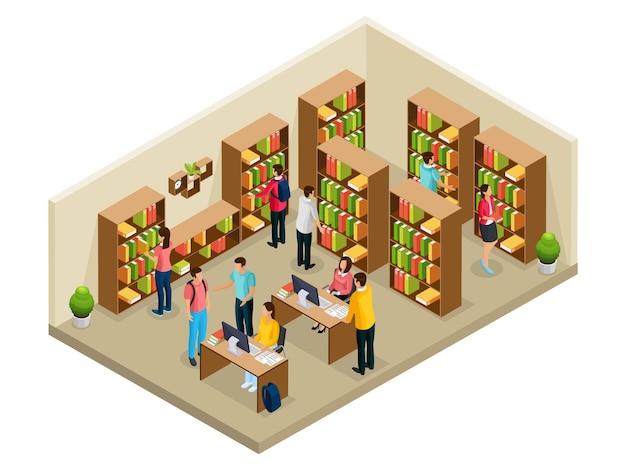 Concetto di biblioteca universitaria isometrica con studenti che studiano e leggono in ateneo isolato