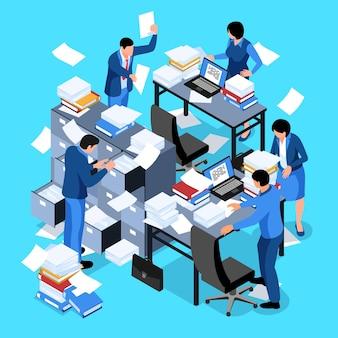 Composizione di lavoro d'ufficio isometrica non organizzata con laptop fogli di carta volanti e personaggi umani di dipendenti dell'azienda