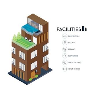 Edificio urbano isometrico. servizi icona per condominio.