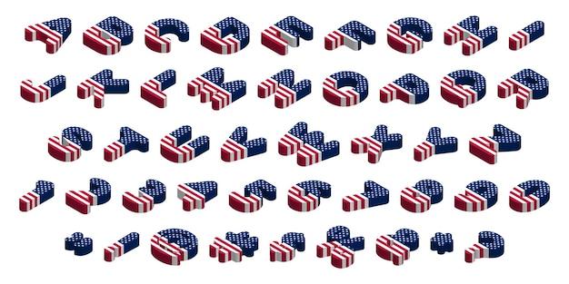 Lettere e simboli della bandiera usa isometrica