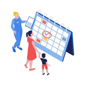 Composizione di vaccinazione isometrica con calendario da tavolo e personaggi di madre figlia e illustrazione di specialista medico