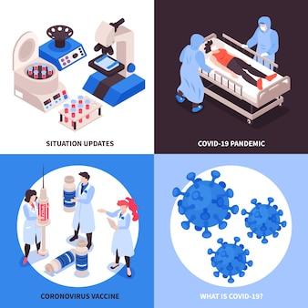 Illustrazioni di progettazione di coronavirus di vaccinazione isometrica