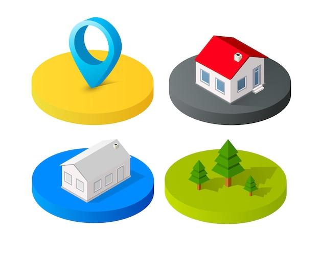 Costruzioni della città dell'icona di vettore isometrico 3d per l'insieme di concetto di web che include la casa