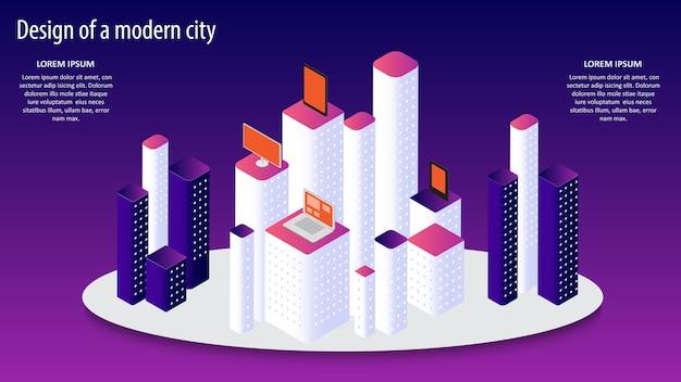 Illustrazione 3d isometrica di vettore di un design moderno della città.