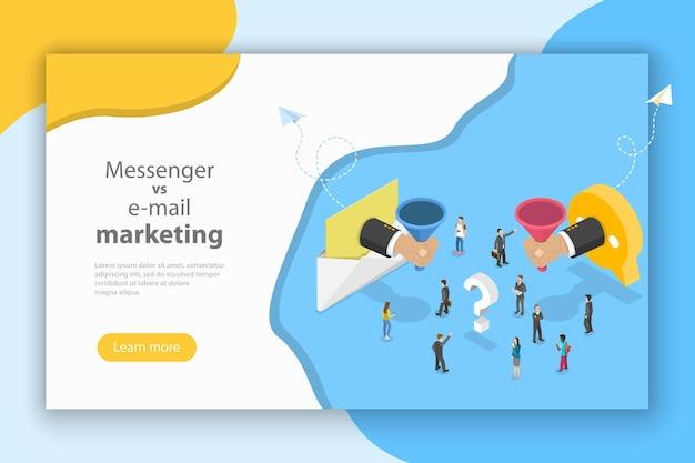 Concetto vettoriale isometrico di email vs messenger marketing