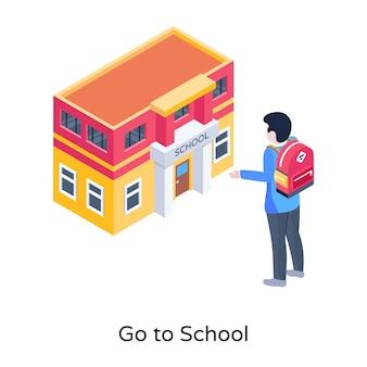 Vettore isometrico di andare a scuola