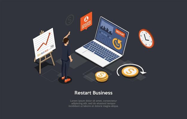 Illustrazione isometrica di vettore nello stile del fumetto 3d. composizione su sfondo scuro con infografica. riavviare il concetto di business. personaggio in piedi vicino a laptop, elementi dell'area di lavoro intorno, grafici, grafici