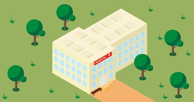 Illustrazione vettoriale isometrica dell'edificio ospedaliero all'esterno