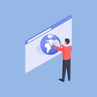 Illustrazione vettoriale isometrica del viaggiatore maschio che naviga e ingrandisce il modello della terra sulla pagina web mentre si sceglie la posizione per le vacanze su sfondo blu