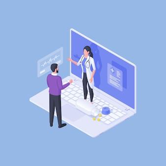 Illustrazione vettoriale isometrica dell'uomo in piedi vicino al computer portatile enorme e parlando con la donna in uniforme medica durante l'appuntamento online su sfondo blu