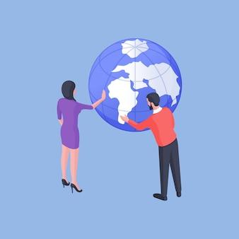Illustrazione vettoriale isometrica dell'uomo e della donna che esaminano i continenti sul globo e alla ricerca di destinazione per le vacanze su sfondo blu brillante