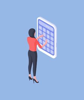 Illustrazione vettoriale isometrica del dipendente femminile moderno utilizzando un enorme calcolatore per contare i dati durante il lavoro in ufficio su priorità bassa blu