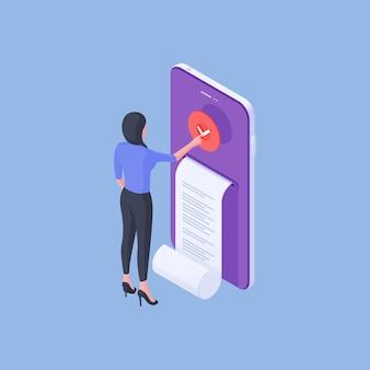 Illustrazione vettoriale isometrica della donna moderna premendo il pulsante di controllo sullo smartphone contemporaneo dopo aver ricevuto la fattura digitale su sfondo blu brillante