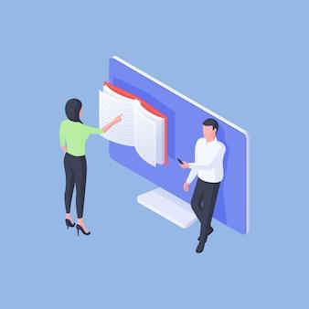 Illustrazione vettoriale isometrica di studenti maschi e femmine moderni che esplorano smartphone e gruppo di lettura vicino al monitor del computer su priorità bassa blu