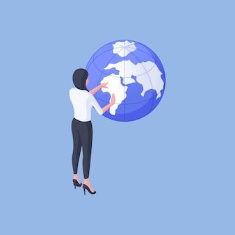 Illustrazione vettoriale isometrica della donna moderna esaminando il globo e scegliendo la posizione per le vacanze durante la pianificazione del viaggio su sfondo blu brillante