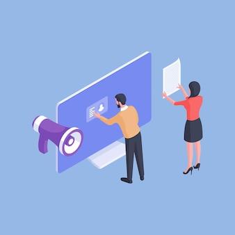 Illustrazione vettoriale isometrica di impiegati del personale che rivedono i curriculum e l'identità della persona mentre annunciano un posto vacante isolato su priorità bassa blu
