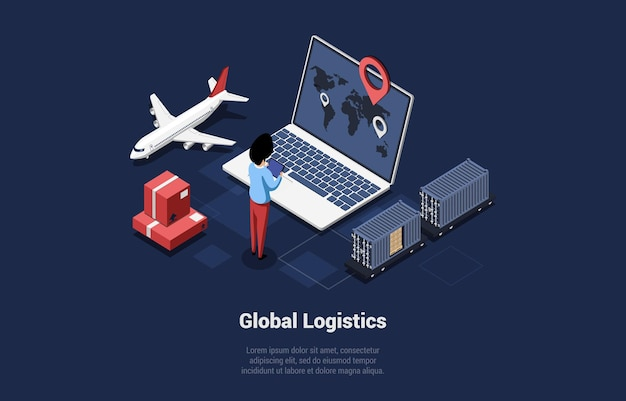 Illustrazione vettoriale isometrica con la scrittura. composizione concettuale in stile cartoon 3d. servizio di controllo della logistica globale, monitoraggio del trasporto internazionale di prodotti. assicurazioni sul trasferimento di sicurezza.