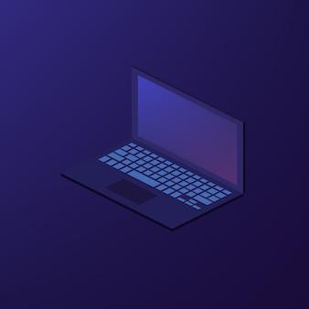 Illustrazione isometrica del computer portatile del taccuino di vettore