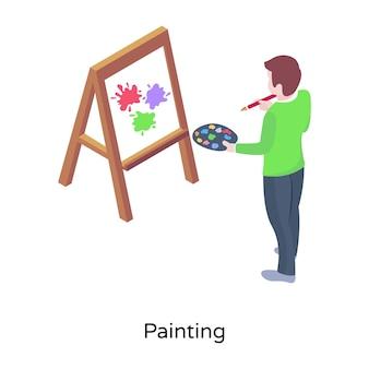 Un vettore isometrico di pittura studente di pittura su tavola da cavalletto
