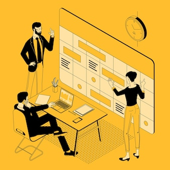 Vista isometrica del programma di pianificazione del team e della cronologia del calendario