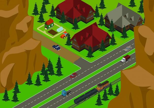 Illustrazione isometrica del paesaggio del villaggio