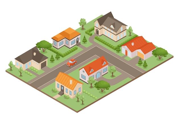 Villaggio isometrico con case