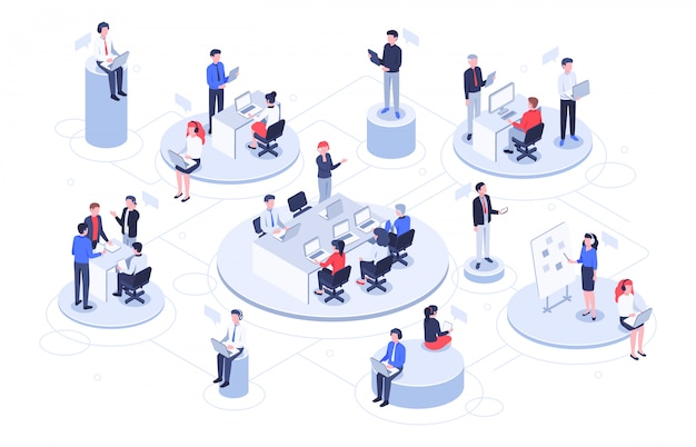 Ufficio virtuale isometrico. gente di affari che lavora insieme, area di lavoro delle società di tecnologia e illustrazione delle piattaforme di lavoro di squadra