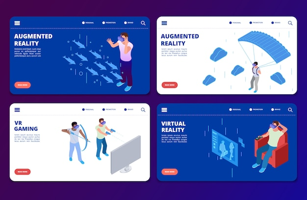 Giochi vr isometrici, modelli di pagine di destinazione vettoriali in realtà aumentata Vettore Premium