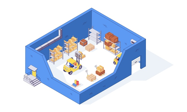 Fabbrica di pallet e carrelli elevatori per pallet scatola di magazzino isometrica illustrazione delle merci di consegna. pallet di carrelli elevatori di scatole nel carico isolato su priorità bassa bianca. deposito logistico