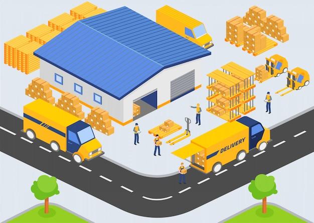 Azienda di magazzino isometrica. processo di carico e scarico dal magazzino.