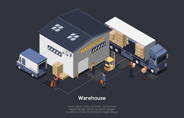Illustrazione isometrica di concetto di magazzino
