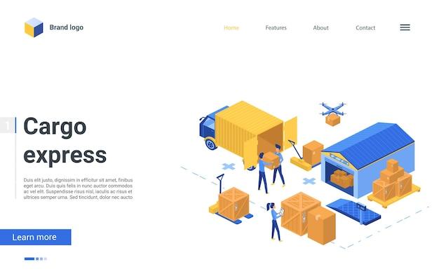 Pagina di destinazione del servizio logistico di consegna del magazzino isometrico