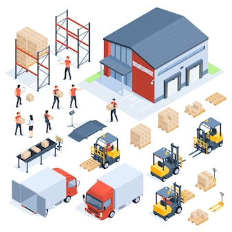 Logistica di magazzino isometrica. industria del trasporto merci, logistica di distribuzione all'ingrosso e pallet distribuiti set isometrico 3d