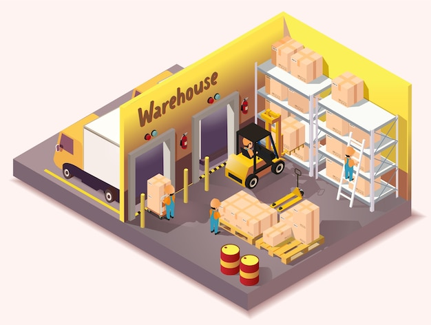 Servizio di consegna logistica di magazzino isometrico