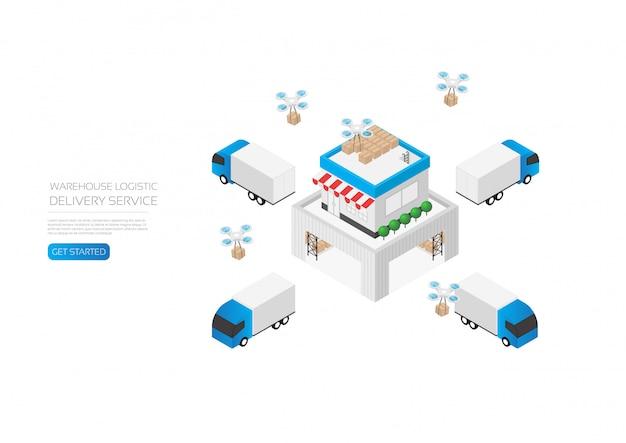 Logistica di magazzino isometrica