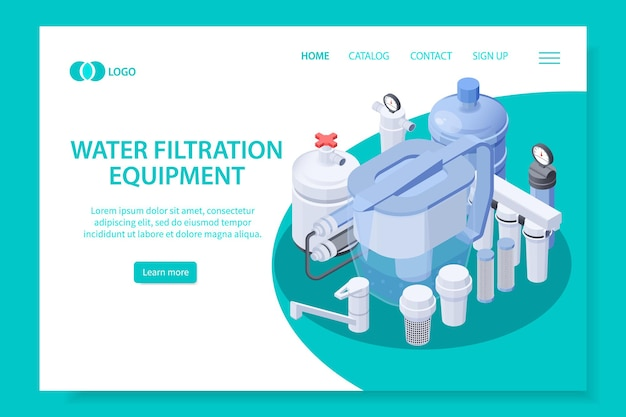 Modello di pagina di destinazione dell'attrezzatura per la filtrazione dell'acqua isometrica
