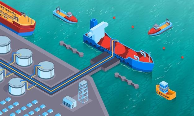 Composizione orizzontale isometrica nel trasporto idrico con vista dell'attrezzatura a terra e della petroliera che vengono caricate illustrazione,