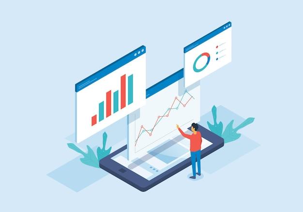 Analisi web isometrica e persone che lavorano per l'analisi dei dati