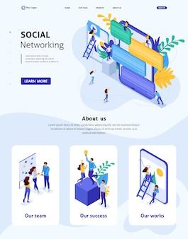Modello di sito web isometrico comunicazione concetto di landing page dei giovani nei social network, invio di messaggi e foto. adattabile