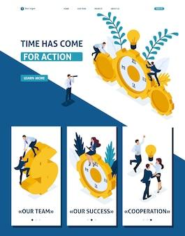 Modello di sito web isometrico pagina di destinazione è giunto il momento di agire gli uomini d'affari scalano l'orologio, la cooperazione per il successo. 3d adattivo.